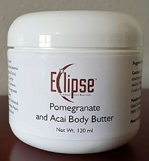 Eclipse Pomegranate Acai Body Butter Cream smells heavenly! It has a mild, fruity scent that isn't overpowering. It has more of a lotion or cream texture than traditional body butter, but it makes my skin feel hydrated and refreshed.  I use this cream on my entire body. It absorbs nicely, without leaving a sticky residue. I especially like using on my feet and legs at night, before bed. It's soothing to my achy feet, and alleviates that scratchy feel against the sheets that drives me nuts.