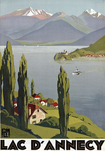 "TT46 Vintage Lake Annecy French France Travel Poster Print A3 17""x12"" Re-Print"