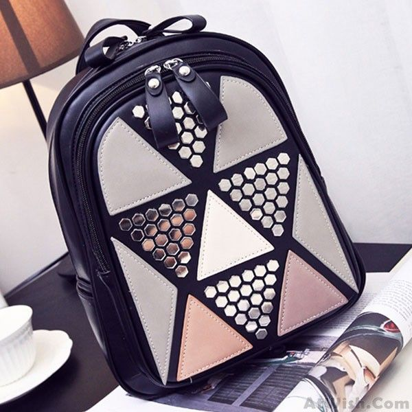 Unique Girl's PU Splicing Leisure Rivet School Backpack Triangles Sequins Backpacks