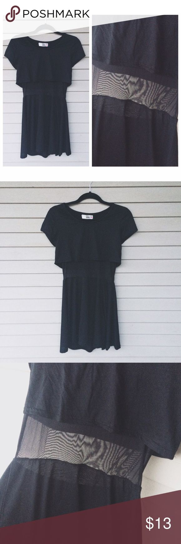 "Short Sleeve Black Mesh Dress, sz M Short-sleeve skater dress by I'm In Love With Derek (?? LOL) in sz M. There's a mesh underlay in the middle to show a peek of skin, which definitely sets this apart from your regular LBD 👌🏻 The overlaying ""crop top"" part is about 12"" in length, so would recommend for an A or B cup to avoid potential underboob! Pic 3 is from SheIn and shows similar style.  --- Measurements: bust stretches to fit approx 26""-35"" around; top half (""crop top"" area"") is 12"" in…"