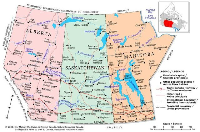 Canada Maps: Map of Prairie Provinces - Alberta, Saskatchewan and Manitoba
