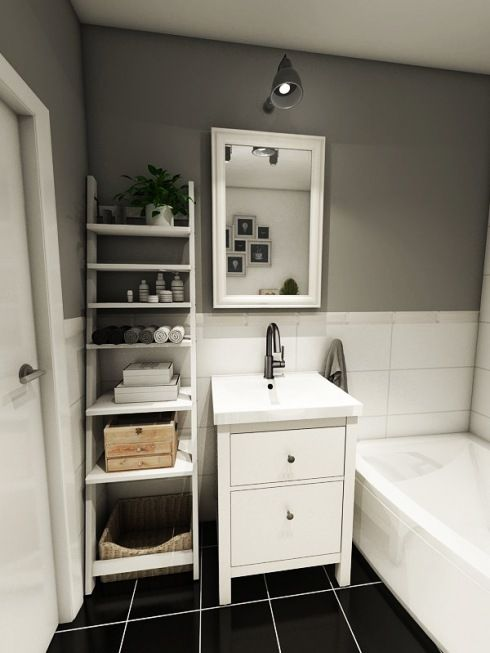 Biała/jasna łazienka. Prosta i oryginalna - wszystko dzięki drabinie-półce :)