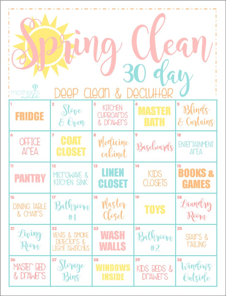 The 30 Day CLEAN HOME Challenge: Spring Clean Up Printable ...