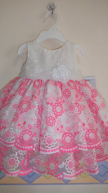 pretty infant dress in double layer of embroidered organza fabric...awesome!