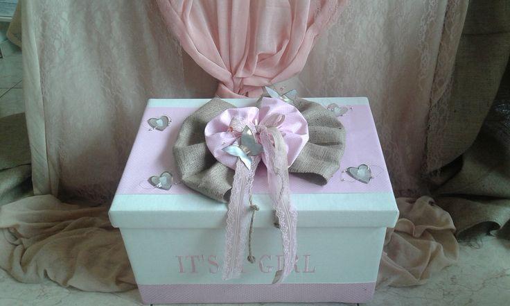 Baptism fabric box with burlap