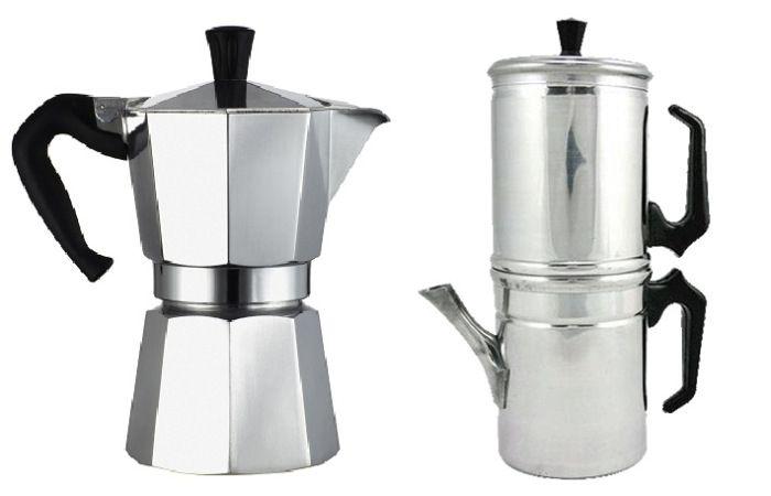 Cafetera Moka y Cafetera Napolitana