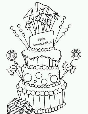 Resultado de imagen para torta de cumpleaños para colorear | Dibujos ...