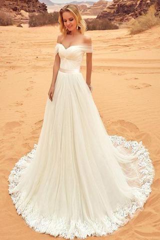 Sexy Off-the-Shoulder Sweep Train Sweetheart A-Line Tulle Ivory Floor-Length Wedding Dress,#weddingDressonlinestore,#Bridaldress,#elegantweddinggown #shortweddingdresses
