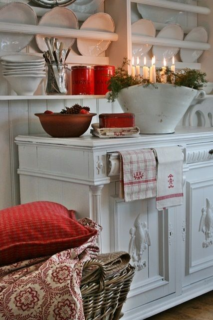 Vintage monogrammed linens, ironstone, textiles, Scandinavian bliss.  I want to live here.