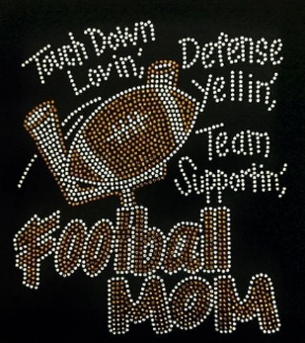 Rhinestone Football Mom T-Shirt  Bling Shirt  Sports High