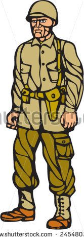 Illustration of an American World War two soldier serviceman standing on isolated white background  done in woodcut linocut style.   #soldier #veteran #linocut #illustration