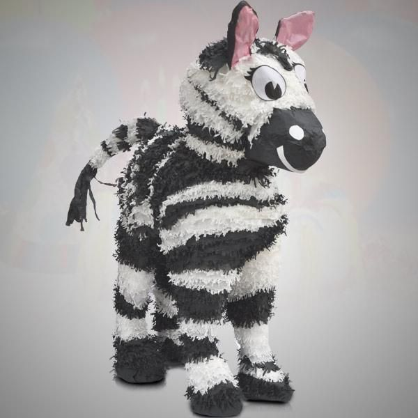 Zebra Pinata Party Animals Handmade 100% Authentic Guatemalan Pinatas. Our Zebra pinata will make party animals go wild! The perfect decoration for any jungle safari party or for any kind of event. Colorful and handmade by talented artisans from Guatemala. 100% handmade in Guatemala with wires, newspaper and colorful tissue paper for decoration.