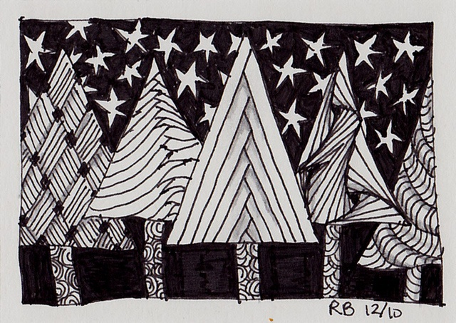 Zentangling... Evergreen trees - make this on 8.5 x 11 paper and frame for xmas