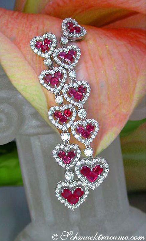 Beautiful Ruby Diamond Heart Earrings, 3,76 cts. WG-18K - Find out: schmucktraeume.com - Like: https://www.facebook.com/pages/Noble-Juwelen/150871984924926 5 245,00 €