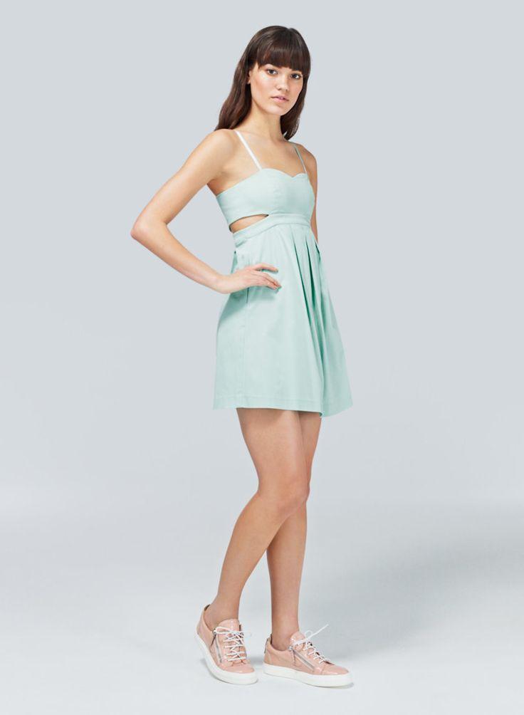 TALULA ECHOPLEX DRESS - Cutouts and a bold zipper toughen up an empire-waist party dress