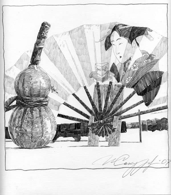 Spirit Of Japan. Pumpkin Jar And Fan by Igor Sakurov  #IgorSakurov #Art #InkDrawing #PensilDrawing #StillLife #RussianArtistsNewWave #Fan #JapeneseStyle #StylishArt #OriginalArtForSale #ArtForSale #InteriorDesign #DecorIdeas #OfficeArt