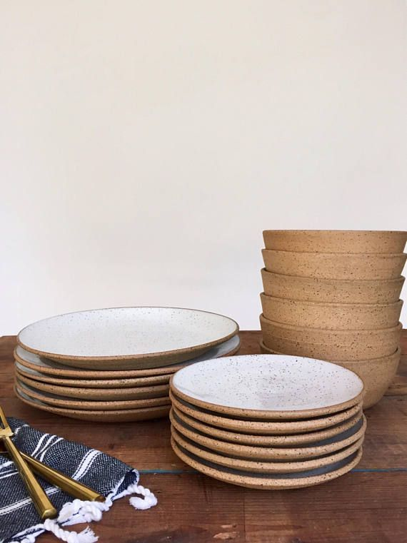 Handmade Pottery Dishes White Speckled Plate Settings With Ceramic Dinnerware Ceramic Dinner Set Ceramic Plates