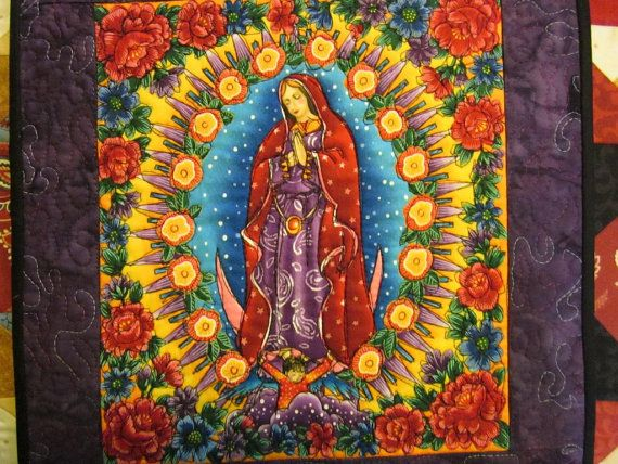 Our lady of guadalupe quilt wall quilt by for Crazy mural lady