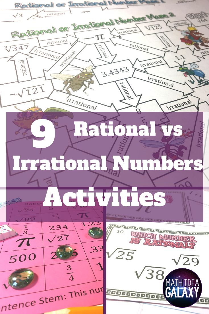 9 Rational and Irrational Numbers Activities Irrational