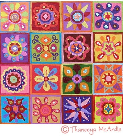 Students create a simple radial design to be included in a quilt design.