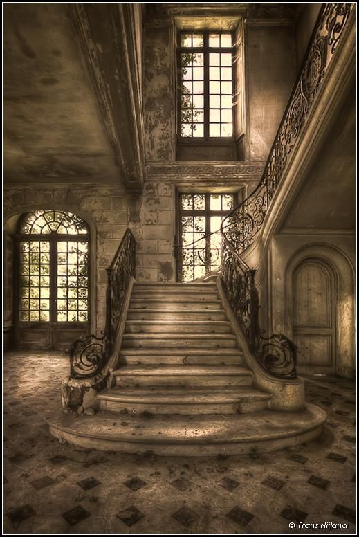 Staircase in an abandoned chateau in France