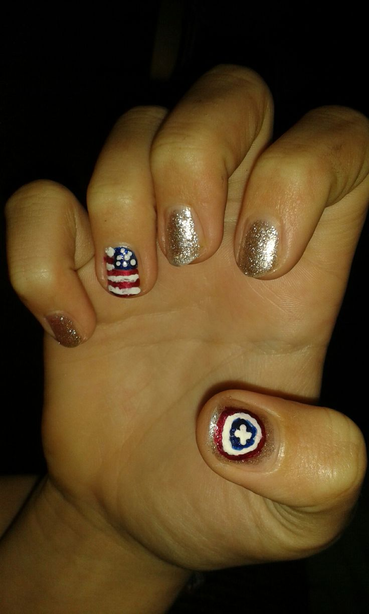 Captain America style nails painted on my best friend by me