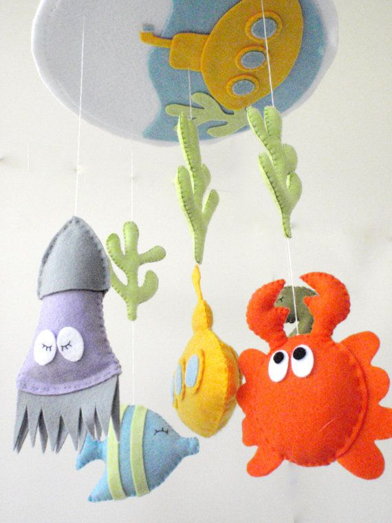 "Free Shipping - Baby Crib Mobile - Baby Mobile - Nursery Crib Mobile - Custom colors Underworld nursery room - ""Under the sea"""
