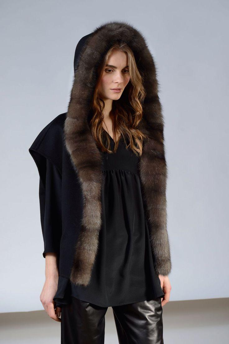 Russian Barguzin Sable Fur Trimmed Hooded Cashmere jacket