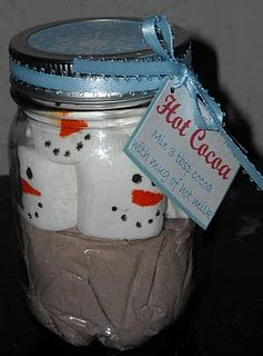 i made these last Christmas and sold them at a craft show with my famous hot chocolate mix..I sold a lot....I have been asked by several people for my hot chocolate recipe which is very good.  so I have decided to give the recipe to any of you who would like it ..here goes    to make the mix  add  1/2 cup coffee creamer, 1/2 cup powdered milk, 1/2 cup sugar, 1/2 cup cocoa, 1/8 tsp salt, 1 tsp powdered vanilla (you can get this at Atlantic Spice Company. 1 can eagle brand milk (sweeten conden...