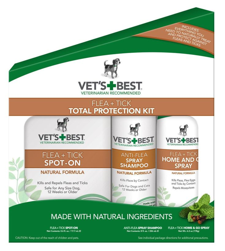 FLEA & TICK 3-PIECE TOTAL PROTECTION KIT  Natural shampoo safely kills both flea eggs and live fleas on contact Spot-On natural topical provides flea and tick protection to any size dog Home and Go spray offers additional protection for both pet and home Safe for use on dogs, 12 weeks or older Key Ingredients: Peppermint Oil, Clove Extract, Clove Leaf Oil, Thyme White Oil, Cinnamon Oil  $49.99