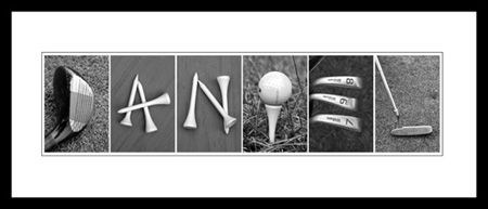 Alphabet Art in golf themed letters to spell a first name or last name for the golf enthusiast. Letters available as individual 4x6 or 5x7's or combined on one 8x10 or 11x14 photograph. Great gift for the golfer. #golf ,#gift, #golfer