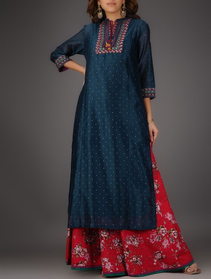 Buy Blue Nehru Collar Chanderi Kurta with Embroidery and Slip (Set of 2) Shell: Slip: Cotton Voile Women Kurtas Online at Jaypore.com