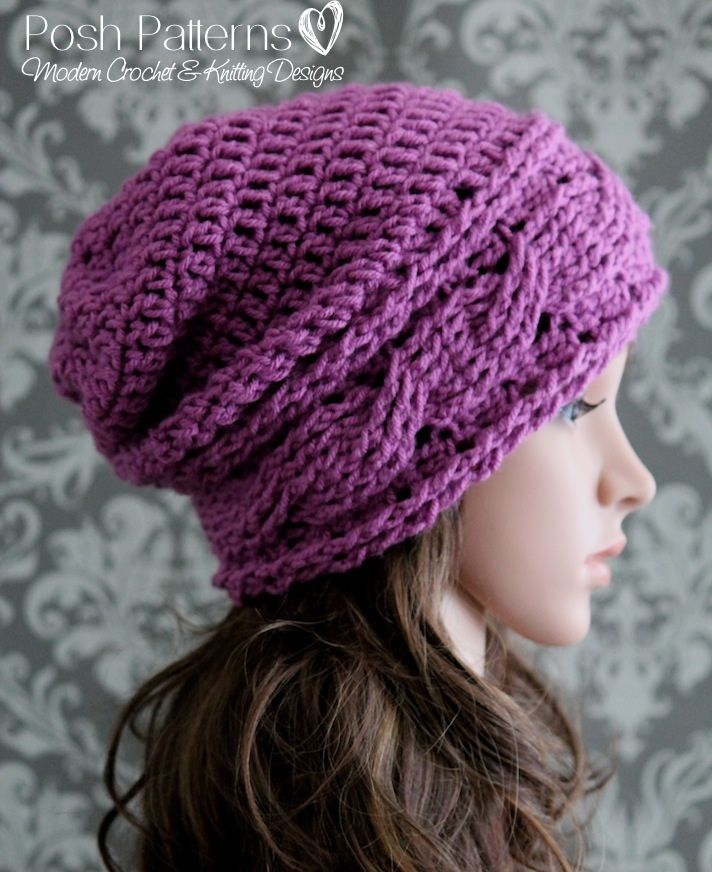 An elegant crochet slouchy hat pattern with a horizontal cable design.