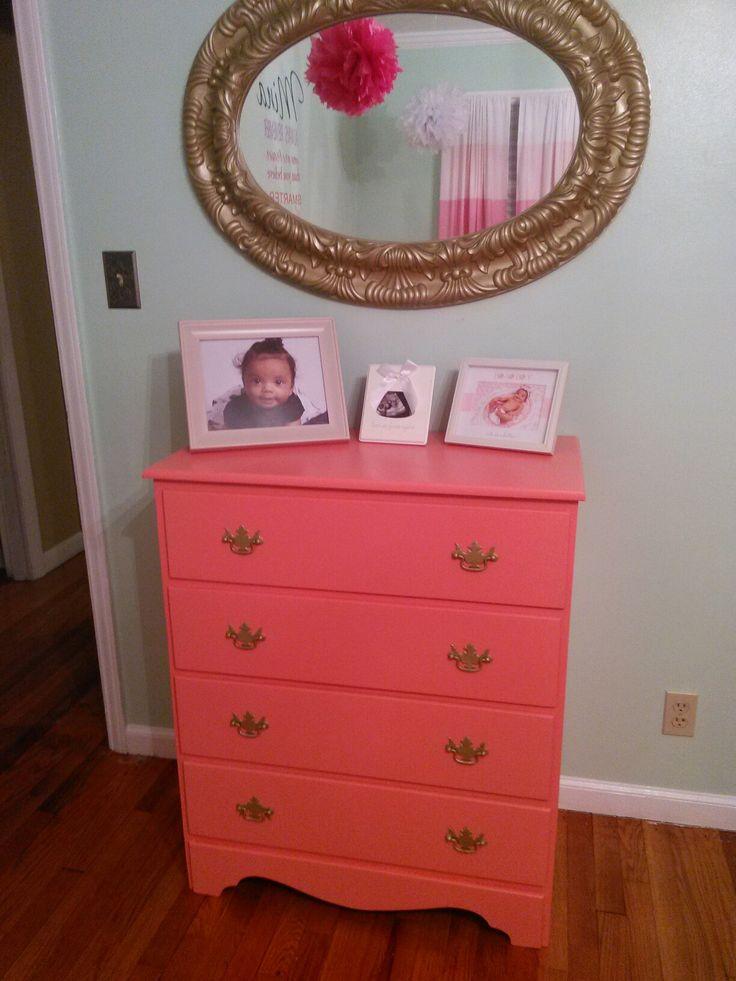 Her dresser #dresser #coral  #toddler room #refurbish