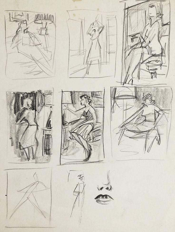 Pencil Studies of Women