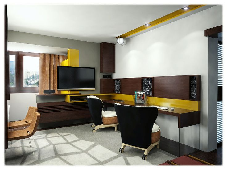Multifunctional room - home office, dinning and living