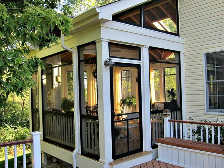 Awesome screened porch! Love cathedral ceiling and black trim. Perfect.