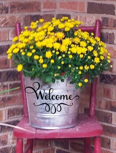 Welcome Galvanized Pail Bucket for Front Porch decor! Beautiful hostess or housewarming gift! by DocksideDesign on Etsy