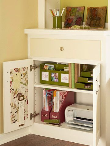 Command Central  Files, magazines, and other necessities hide behind cabinet doors. Inside the cabinet, corkboards covered in fabric hold to-do lists and other important papers.
