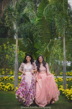 Sister of the Bride - Pink and Peach Lehenga with Capes   WedMeGood   Floral Lehenga with a Peach Soft Lehenga  #wedmegood #redcarpetbride #pink #floral #ridhimehra #lehengas #lightlehengas #sisterofthebrideoutfits #sisterofthebride #bridal