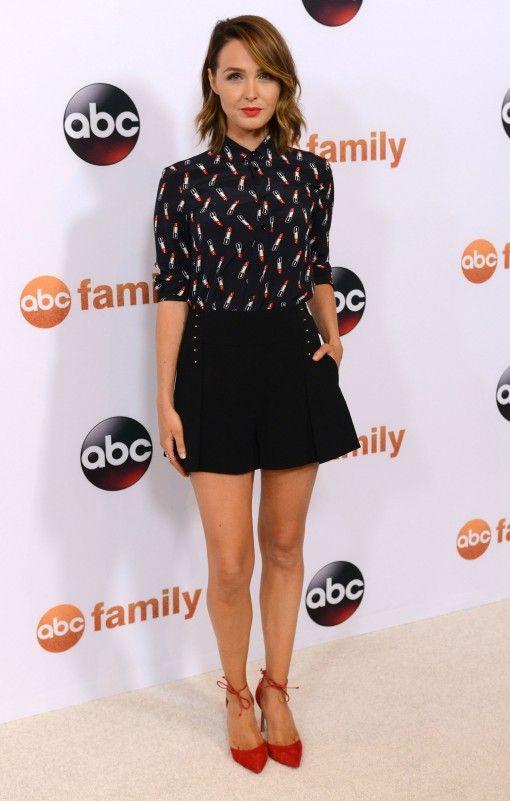 Camilla Luddington in Saint Laurent lipstick print blouse and Derek Lam shorts - Disney ABC Television Group's 2015 Summer TCA Press Tour Photocall
