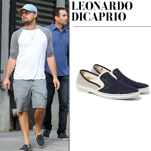 Leonardo DiCaprio in blue mesh slip on shoes