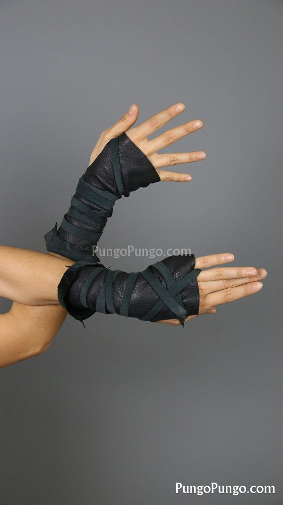 Black Fingerless Leather Gloves, Long | Mad Max Furiosa Post apocalyptic Warcraft Elf Hunter Barbarian |Festival Burning Man Costume Cosplay