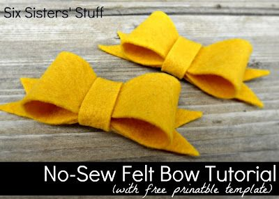 No-Sew Felt Bow Tutorial- this would make a darling headband or would look great attached to a bag. Takes less than 10 minutes to make! SixSistersStuff.com #hairbow #accessory #DIY