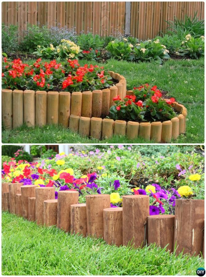Wood log garden edging 20 creative garden bed edging for Ideas for garden borders designs