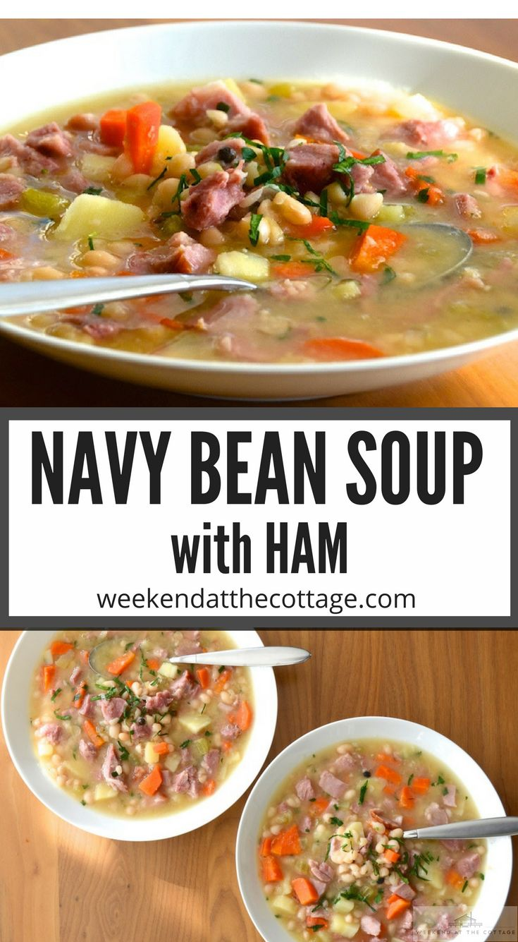 It's hearty, wholesome and fantastically flavourful! You can make this soup with Ham Hock or Smoked Turkey - both are easy to make and delicious. This healthy recipe makes a great lunch or dinner. Make it the night before and pack it for a Weekend at the Cottage! #NavyBeanSoupwithHam #OldFashionedNavyBeanSoup #BestNavyBeanSoup #NavyBeanSoup #BeanSoup