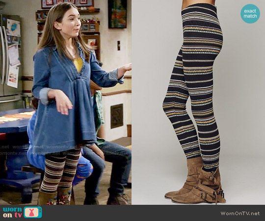 Riley's striped leggings on Girl Meets World.  Outfit Details: https://wornontv.net/59411/ #GirlMeetsWorld