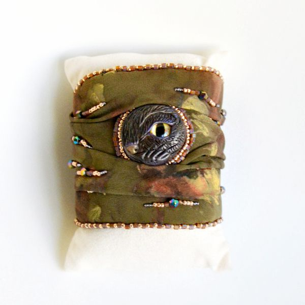 Bracciale Gatto   Embroidery   Seta Verde
