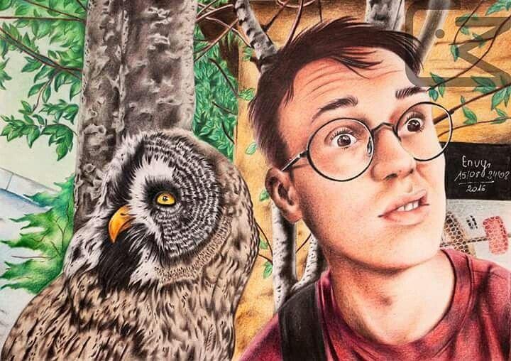 Krzysztof Gonciarz portrait and an owl with polychromos color pencils by Magdalena Leszczyniak