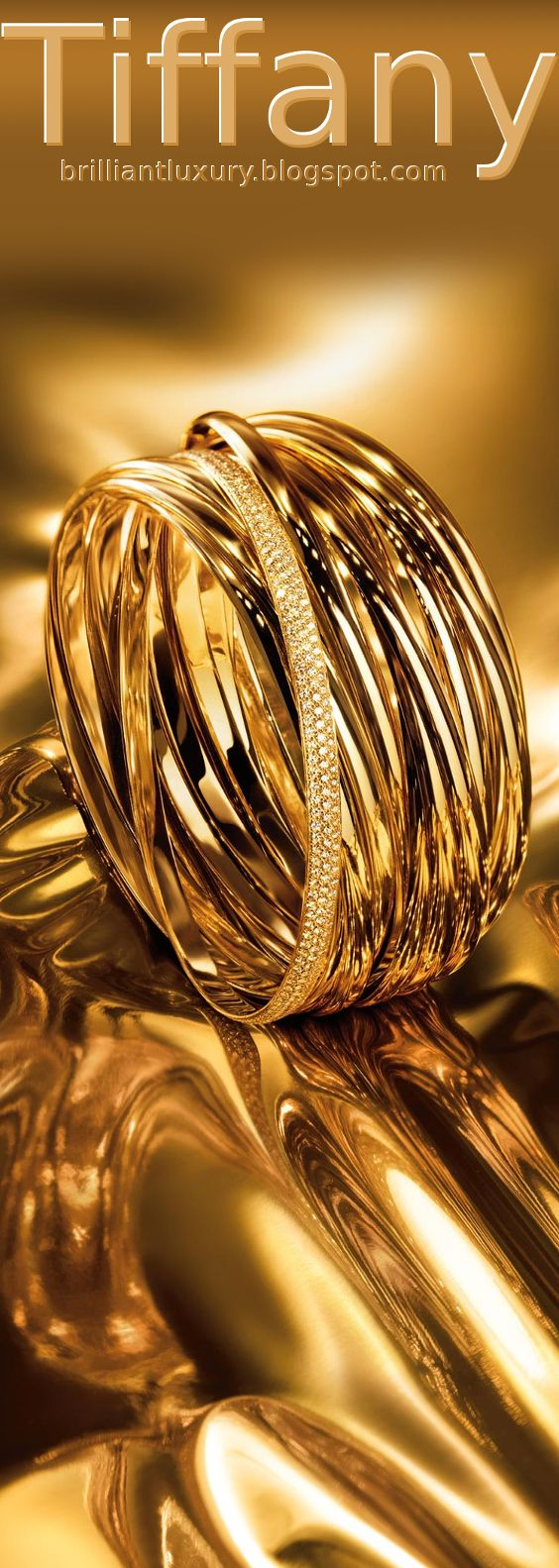 Brilliant Luxury ♦ Tiffany Go for Gold ~ Paloma's Melody five-band and nine-band bangles in 18k gold